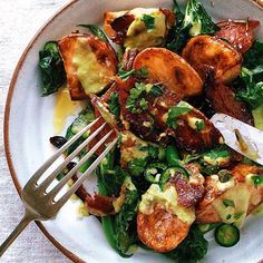 Roasted Potato Salad With Crispy Honey Bacon And Spicy Avocado ...