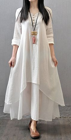Women loose fit over plus size white flax linen dress long maxi tunic robe #Unbranded #dress #Casual
