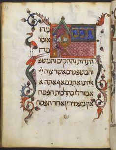 The Wise Son=Haggadah, liturgical poems and biblical readings for Passover (The 'Barcelona Haggadah'), Sephardic rite OriginSpain, N. E., Catalonia (Barcelona) Date2nd quarter of the 14th century, c. 1340 LanguageHebrew
