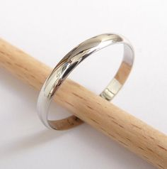 White gold wedding ring women men wedding band 3mm by havalazar, $190.00