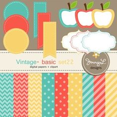 These Digital Papers and Label Cliparts Basic Set 20, Teacher Sellers Kit, Apple labels in Vintage colors: blue, coral, and yellow are ideal for creating various art projects, classroom decors, teaching materials, digital scrapbooking, making invitations, other creative fun projects at school or home. ----------------------------------------------------------------------------- ~ 9 pcs.  12 x 12 inches digital background papers (.jpg ) (chevron, circles, strips)~ 12 labels - 4 designs in 3…