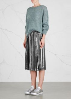 Madlen silver pleated lamé skirt (DS)