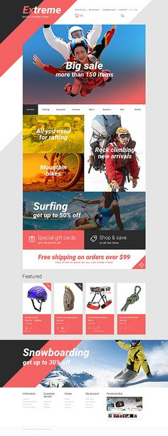 Extreme Sports Clothing & Gear #OpenCart #webtemplate #themes #business #responsive #template