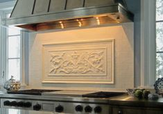 The decorative tile above is the French Flowers surrounded by Thin Liners, 2 x 2 inch flat tiles and the Plain Frame border. This set is 24 x 46 inches. Matching 3 x 6 inch flat tiles were used to complete the backsplash. Kitchen Stove, Kitchen Tiles, Kitchen Design, Kitchen Decor, Kitchen Styling, Rustic Kitchen, Kitchen Cabinets, Home Design, Design Ideas