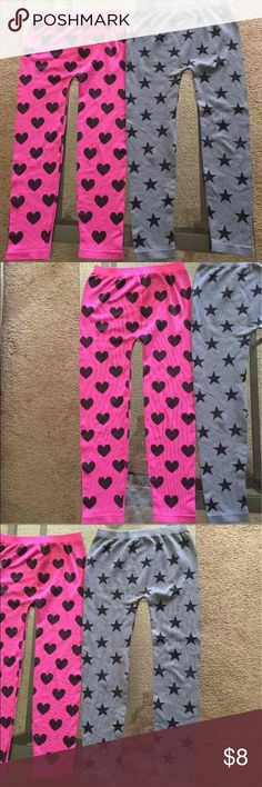 Set Of 2 Leggings Sz's 7-16 Youth Girls; 2 Pair of Leggings, Fits Pants Sizes 7-16~ The Gray Stars have been Worn 1 Time and The Pink Hearts Leggings Have Never Been Worn & have Never been Laundered~ Gray Leggings are In Very Good Condition & the Pink Leggings are In New Excellent Condition~ I Bought for Daughter, She Wasn't Able to Wear & Outgrew~ No Flaws**Great For Back To School** Bottoms Leggings