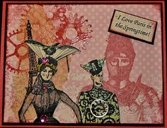 My Card using VLVS! Steampunk stamps!