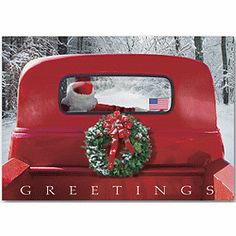 Sleigh Patriotic Christmas Cards - Holiday Greeting Cards-The Office Gal Christmas Red Truck, Funny Christmas Cards, Christmas Minis, Christmas Pictures, Vintage Christmas, Christmas Holidays, Christmas Clipart, Merry Christmas, Business Holiday Cards