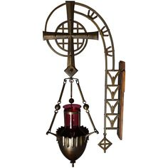Unique and Stunning Arts and Crafts Brass Sanctuary Wall Lamp with Crystal Globe