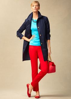 red pants, navy top, jean jacket or white moto, turquoise jewelry and navy shoes...cute color palette