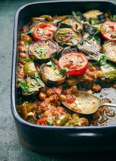 This hearty and simple Palestinian aubergine and chickpea traybake is inspired by the flavours of moussaka but is meat-free and suitable for vegans. Palestinian Food, Ottolenghi Recipes, Yotam Ottolenghi, Vegetarian Recipes, Cooking Recipes, Meze Recipes, Delicious Recipes, Greek Dishes, New Cookbooks