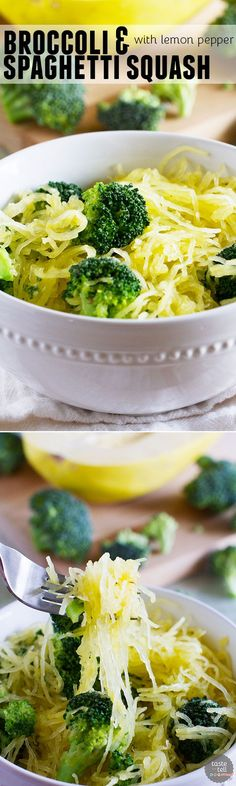 Forget the pasta - this healthy veggie filled Broccoli and Spaghetti Squash with Lemon Pepper Recipe will leave you satisfied.: