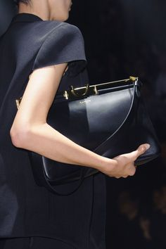 Minimal Accessories // Lanvin at Paris Spring 2015, black and gold leather bag