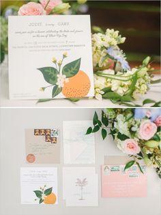 oranges wedding invites from Ladyfingers Letterpress  http://www.weddingchicks.com/2013/09/20/vintage-destination-wedding/