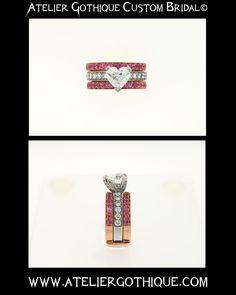 Atelier Gothique Custom Bridal© Fine Custom Jewelry Gothic Alternative Engagement Wedding Fashion White Heart Diamond Band Ring Rose Gold Pink Sapphire