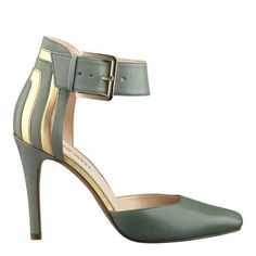"Two piece pump with adjustable ankle strap closure on a 4"" heel."