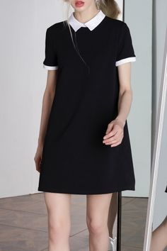 Shop bootyjeans black peter pan collar preppy style dress here, find your mini dresses at dezzal, huge selection and best quality. Preppy Dresses, Simple Dresses, Dress Outfits, Casual Dresses, Short Dresses, Fashion Dresses, Mini Dresses, Shift Dress Outfit, Lace Dresses