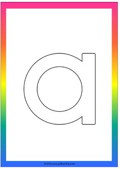 Open letters in een gezellig regenboogkader. Leuk om kleuters klei op te laten leggen of met een whiteboardmarker op te laten 'schrijven.'