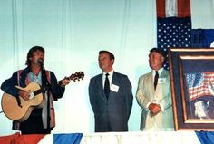"""The late great, John Denver, with Astronauts Alan Shepherd, and Wally Shirra, (The rest of the Apollo Astronauts, were on the stage as well), Astronaut Bean had painted the """"Moon print"""" you"""
