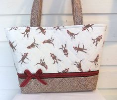 Red / Brown Sock Monkey Quilted Purse / Tote / by MsSewItAll32, $40.00