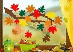 Risultati immagini per fensterbilder herbst Autumn Crafts, Autumn Art, Diy And Crafts, Arts And Crafts, Paper Crafts, Decoration Creche, Diy For Kids, Crafts For Kids, Diy Y Manualidades
