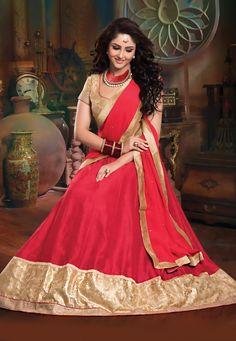 #Red Art Silk #LehengaCholi