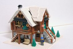 This is my entry for the Expand the Winter Village contest. Mountain shelter, usually located near the summit, is a place, where hikers and mountaineers. Lego Christmas Sets, Lego Christmas Village, Lego Winter Village, Gingerbread Christmas Decor, Christmas Houses, Pink Christmas, Xmas, Lego Duplo, Lego Technic