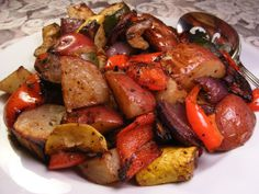 Roasted Mediterranean Vegetables, no need to measure, use your eyes for quantity.