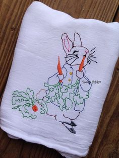 Peter Rabbit Heirloom vintage redwork embroidery by melturtles