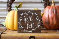 Fall Decor, Fall Wood Sign, Hello Fall Wooden Block, Thanksgiving Sign, Autumn…