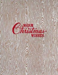 Wood grain letterpress Christmas card from Elum.