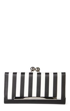 Deb Shops fold over kiss wallet with stripe pattern $7.20