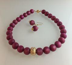 Vintage magenta beads, CZ focal bead, magnetic clasp.  Earrings. Vintage magenta beads, cz spacers.