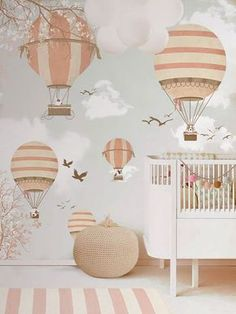 Little Hands Wallpaper Mural -  Balloon Ride II by Little Hands, via Behance