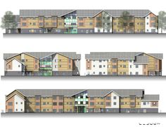 BIM elevations of an Extra care Nursing home designed by Quattor Design Architects. jra modelled in Vectorworks and rendered in Cinema 4D then brought back into Vectorworks and underplayed under hidden line renders to create nice crisp elevations for planning.