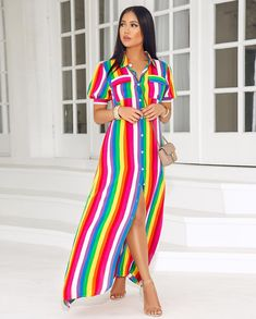 Red Rainbow Striped Buttons Pockets Bohemian Boho Beachwear Maxi Dress Source by SunshinyDayze boho Button Up Maxi Dress, Long Shirt Dress, Rainbow Colored Dresses, Dress Shorts Outfit, Summer Gowns, Wedding Dress With Pockets, Dress Pockets, Short Long Dresses, Chic Couture Online
