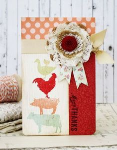 On The Farm Revisited: Many Thanks Card by Melissa Phillips for Papertrey Ink (July 2014)