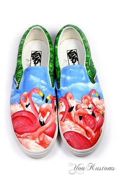 winning vans custom culture - Google Search Painted Canvas Shoes, Painted Toms, Custom Painted Shoes, Painted Sneakers, Hand Painted Shoes, Custom Vans, Custom Shoes, Flamingo Shoes, Pink Flamingos