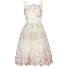 Jolie Moi Tulle Floral Prom Dress, Beige ($130) ❤ liked on Polyvore featuring dresses, floral print maxi dress, white prom dresses, evening dresses, white cocktail dresses and white mini dress