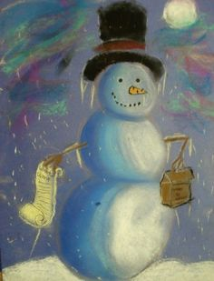 a faithful attempt: Snowmen at Night Chalk Pastel Drawings-Kelsey grade December--QUICK! Christmas Art Projects, Winter Art Projects, School Art Projects, Art Pastel, Pastel Drawing, Snowmen At Night, Ecole Art, Chalk Pastels, Art Lesson Plans
