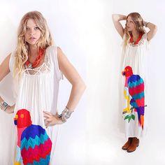 If only I we're taller!  Vtg 70s Cream Crochet Parrot Caftan Tunic Boho by VoodooVintage