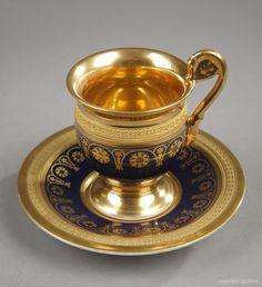 French Empire Paris porcelain set signed Deroche