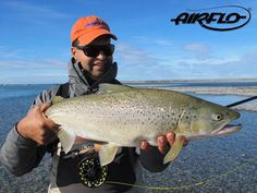 Another great fish for Rene Vaz of New Zealand! This time a Sea Trout, not commonly chased in NZ but amazing fun on a floating line! Fishing Photos, Big Fish, Trout, Fly Fishing, New Zealand, Hunting, Sea, Amazing, Brown Trout