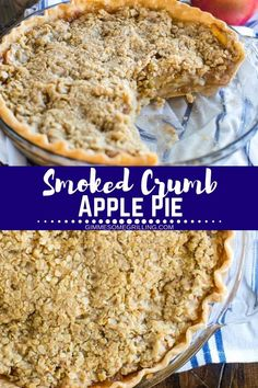 Smoked Apple Pie is made on your electric smoker and it's so amazing! A flaky pie crust topped with layers of apples and a sweet crumble on top. It's the perfect ending to your meal prepared on your Traeger smoker. Always a hit at holiday meals like Thank Smoker Grill Recipes, Smoker Cooking, Electric Smoker Recipes, Tart Recipes, Apple Recipes, Rib Recipes, Traeger Recipes, Smoking Recipes, Thanksgiving