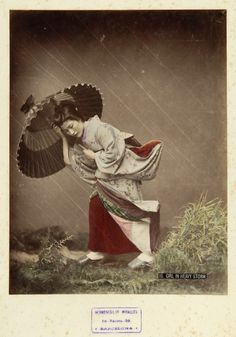 Girl in heavy storm (c. 1870) by Kusakabe Kimbei.