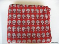 Floral Block Print Soft Fine Indian Cotton Fabric by theDelhiStore, $12.00