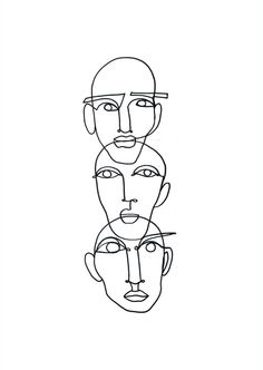 "- - – - - – - Faces - One Line Drawing lesagittarie ""Notion"" Linework by Julia Hariri Boredom Poster Art Inspo, Kunst Inspo, Inspiration Art, Art And Illustration, Art Sketches, Art Drawings, Tattoo Sketches, Abstract Drawings, Desenho New School"