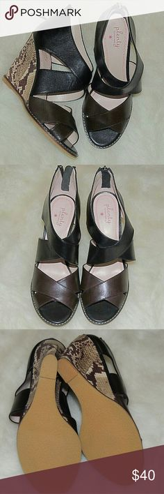 """NEW Plenty by tracy reese New Kalista leather open toed wedges by Plenty by Tracy Reese. Size 39. Zipper ankle, brown leather and toes and black leather at ankles. Crepe sole and snakeskin wedge. 4.5"""" heel. does not come with box Plenty by Tracy Reese Shoes Wedges"""