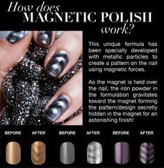 I would really like to try this polish. You paint your nails and then hold a magnet over them to make this neat effect!