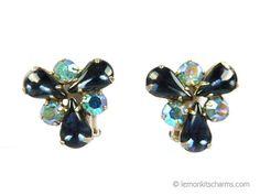 Vintage Blue Glass AB Rhinestone Earrings by LemonKitscharms