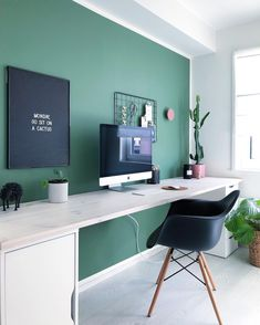 Home office inspiration. Green Home Offices, Home Office Setup, Home Office Space, Office Ideas, Home Office Paint Ideas, Office Interior Design, Office Interiors, Office Wall Colors, Study Room Decor